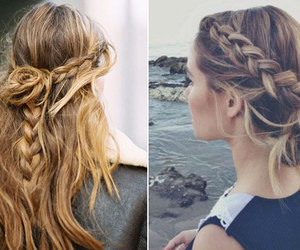blond, braid, and cabelo image
