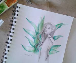 girl, painting, and sketch image