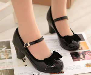 black, lolita, and shoes image