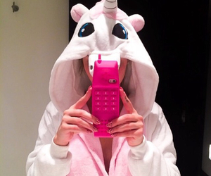 girl, pink, and telephone image