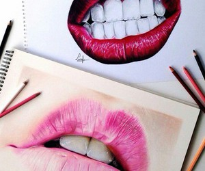 lips, red, and art image