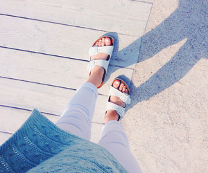 beach, white nails, and birkenstock image