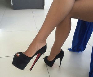 black, heels, and pumps image