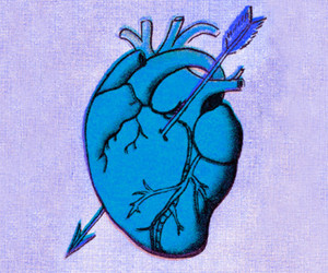 anatomical heart, arrow, and art image