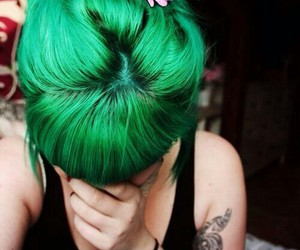 hair, green, and flowers image