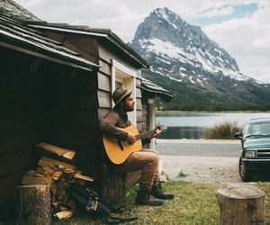 guitar, nature, and mountains image