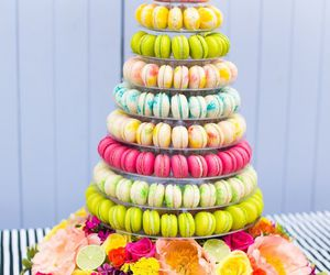 food, macaroons, and flowers image