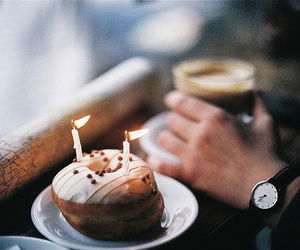 donuts, candle, and coffee image