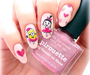girl, minions, and nails image