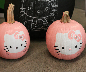 hello kitty, pumpkin, and pink image