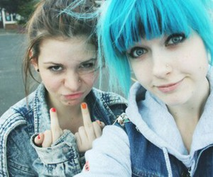 girl, blue hair, and friends image