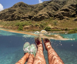vans, couple, and sea image