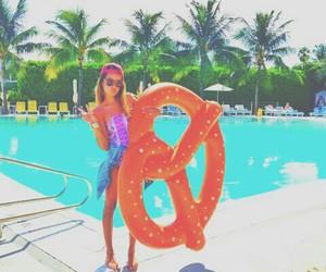 summer, pool, and pretzel image