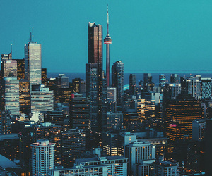 city, light, and buildings image