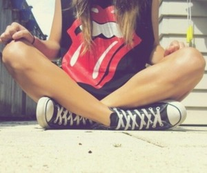 girl, converse, and rolling stones image