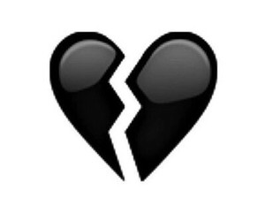 black and white, emoji, and black broken heart image