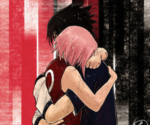 embrace, sasuke uchiha, and not my art image