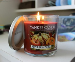 candle, pumpkin, and fall image