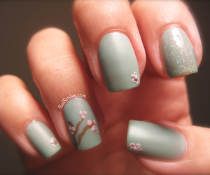 cherry blossom, floral, and nail image