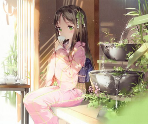 anime, girl, and tea image