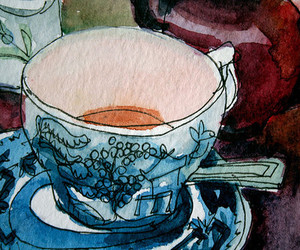tea, cup, and art image