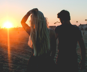 sunset, couple, and girlfriend image