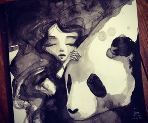 art, panda, and girl image
