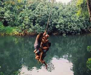friends, lake, and fun image