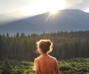 girl, nature, and sun image