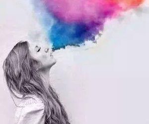 girl, smoke, and colors image