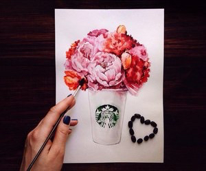 flowers and starbucks image