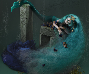 ball jointed doll, bjd, and blue hair image