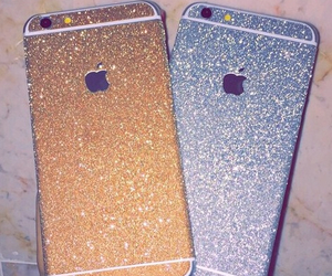 gold, iphone, and glitter image