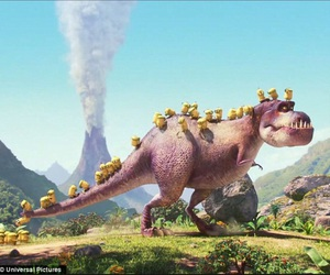 dino, minions, and t-rex image