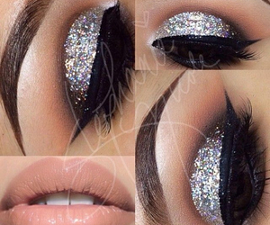 amazing, silver glitter, and perfect brows image