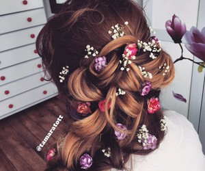 accessories, brunette, and flower image