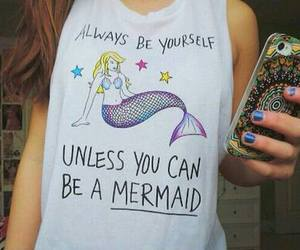 mermaid, be yourself, and iphone image