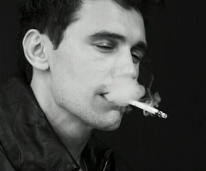 james franco, smoke, and black and white image
