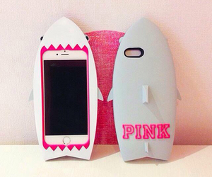 pink, case, and shark image
