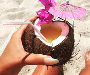 beach, nails, and coconut image
