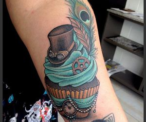 clock, cupcake, and steampunk image