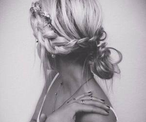 black and white, braid, and girl image