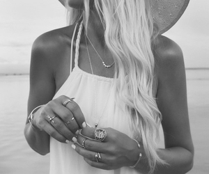beach, bracelet, and hat image