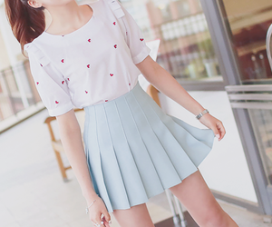 blue, girly, and korean fashion image