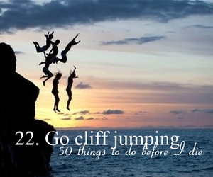 cliff, friends, and jumping image