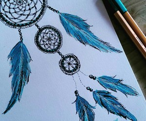 art, dreamcatcher, and drawing image