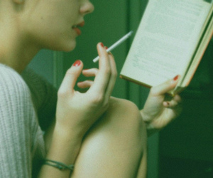book, girl, and cigarette image