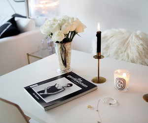 flowers, candle, and interior image
