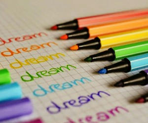 Dream, pen, and rainbow image