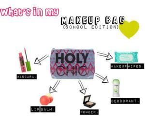 bag, essentials, and makeup image